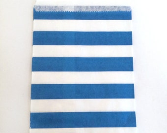 paper bags - treat bag - wedding favor bags - flat paper bag - gift bags - kraft paper bags - wide stripes bags - set of 12 bags - blue
