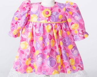 Bubbles Away! Pink, Purple, Yellow Print Nightgown for 18 Inch Doll