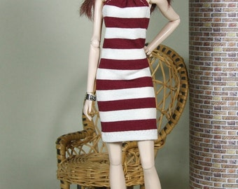 "Fashion Doll Kleid ""to the beach"" - rotbraun"