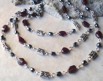 Red Garnet Gemstone.Long Necklace.Black Crystal.Silver.Metal.Lariat.Statement.Double Strand.Layering.Bridal.Ruby.Dainty.Bohemian.Handmade.