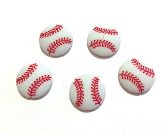 "Baseball Buttons White (3/4"") Buttons and Flat Backs Choice Baseball Set of 5  - 883 A"