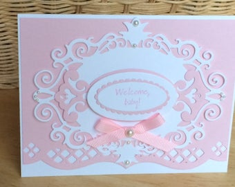 Welcome Baby card, Baby girl card,