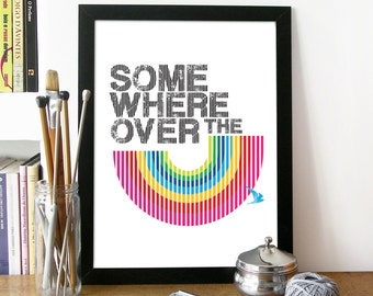 Music Poster Print Illustration Art Poster in Black and Rainbow color SOMEWHERE OVER the RAINBOW poster print somewhere over the rainbow art