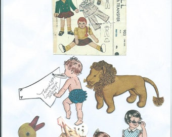 """1940s 26"""" Cuddly Big Doll,  rag doll with Clothes sewing pattern"""