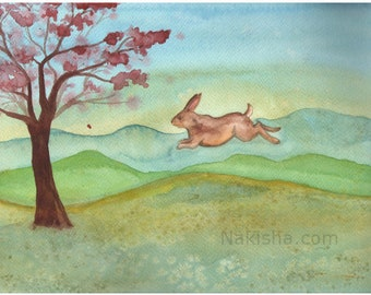 RESERVED for LS - Original Art -  Spring Leap - Watercolor Rabbit Painting