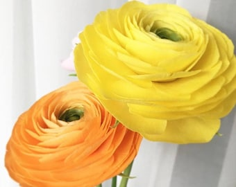 Ranunculus polymer clay Expensive gift Artificial flowers Wedding Bouquet Home Flowers yellow orange Floral arrangements home decorations