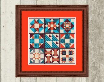 Cross Stitch Pattern Quilt Block Sampler