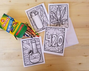 Set of 4 Coloring Cannabis Cards/ Cannabis Greeting Cards/ Stoner Cards/ Pot Head Cards/ Weed Cards/ 420 Cards/ Coloring Stoner Cards/ Weed