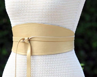 REVERSIBLE Golden Leather and Fabric Obi Wrap Sash Belt - Gold Pearl lambskin - XS S M L XL Plus & Petite Size - choice of fabric pattern