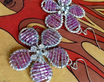 Iridescent Pink Beaded Flowers with Rhinestone Centers Dangle Earrings