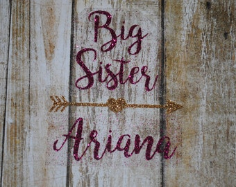 Big Middle Little Brother Sister Personalized Custom Iron on decal heat transfer vinyl glitter baby sibling hospital home shirt