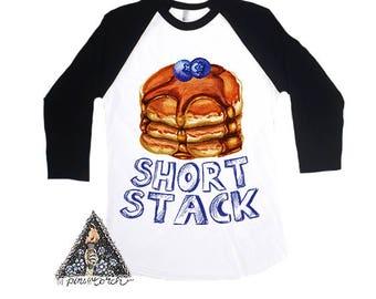 Short Stack Pancake Funny kids raglan shirt / pancakes brunch breakfast foodie kids shirt / Newborn bodysuit