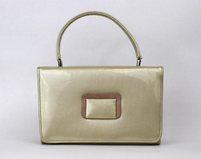 50s Cream Patent Leather Handbag - Vintage 1950s Beige Leatherette Box Purse