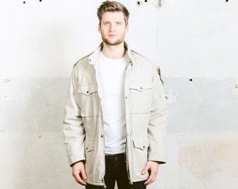 Vintage PUFFER Jacket . Men's Retro Coat Grey 80s Ski Jacket Snouboarding JACKET Parka Mens 1980s Sportswear Activewear Coat . size XL