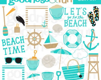 Buy 2, Get 1 FREE - Beach Time Clipart- Digital Summer Beach Clipart - Instant Download