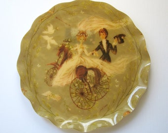 """17"""" Vintage Large Round Serving Tray - Bride and Groom Art - Wedding Day Bridal Shower Decor - Gordon Fraser Bruce McLarty Cocktail Tray"""