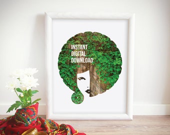 Afro American Art, Afro Art Poster, African American Wall Art, Afro Girl Art, Vine And Branches, Afro Bohemian, Afro Boho, Digital Download