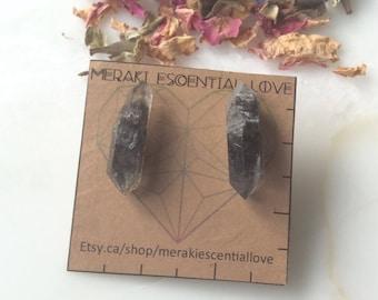 Smoky Quartz Earrings. Raw Double Terminated Smoky Quartz Earring Studs. Boho jewelry. Boho fashion. Gemstone jewelry.