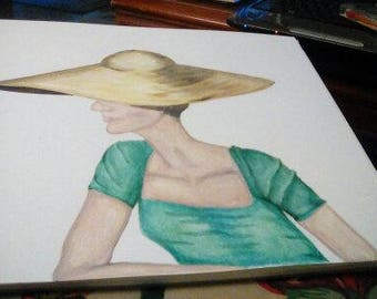 Lady in the Yellow Hat Art Print