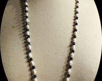 Black and White glass bead Necklace # 047