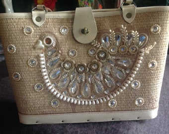 Beautiful vintage Enid Collins decorated canvas handbag