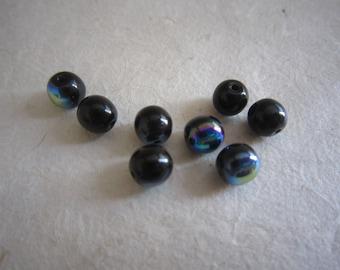 Blue Black metallic glass round beads - 6 mm - set of 8