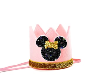 Minnie Mouse First Birthday Crown Party Mickey Ears Pink Felt Crown Headband Photo Prop Cake Smash