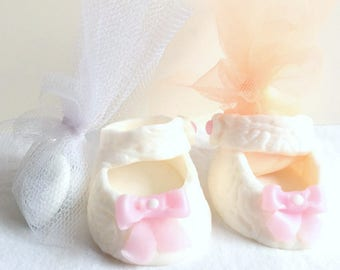 Polymer clay creation: mini shoe/baby girl/christening/table decor/Godfather godmother/containing sweets/handmade / white/pink/glitter