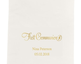 First Communion Dinner Size Napkins - Set of 80 Personalized Napkins Communion Napkins - Custom Dinner Napkins - Babies First Communion