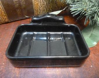 Vintage Heavy Black Porcelain Wall Mount Soap Dish    (T)