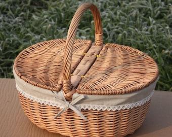 Willow picnic basket,ellipse basket, gift for wedding, hand woven basket, wicker basket, Shopping basket,fruit basket,vegetable-basket