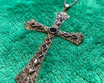 """RESERVED 1970s Amethyst 4"""" Sterling Marcasite Gothic Cross Pendant Necklace"""