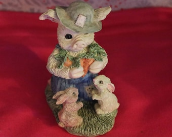 Vintage Poly Stone Sculpture, Feed The Pets