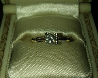 14K old cut diamond ring very petite