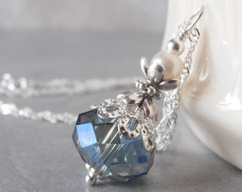 Blue Bridesmaid Necklace Beaded Crystal Pendant Blue Wedding Jewelry Sterling Silver Chain 16 or 18 Inch Handmade Gift for Bridesmaids