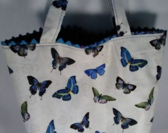 Small Totebag, Totebag Small, Totebag with Butterflies, Tote bag with flowers, Totebag with Pocket,Bookbag Tote, Butterfly Totebag,