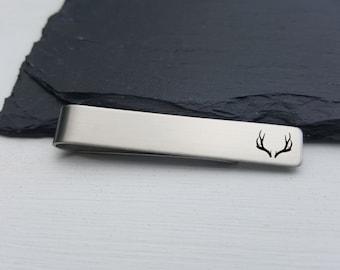 Hunting Tie Clip Gift for Hunter Gift for Him Custom Tie Bar Antlers Tie Bar Men Gift Groomsmen Tie Clip For Him Personalized Tie Clip