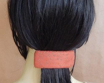 CLEARANCE - Rust barrette, faux suede barrette, studded barrette, fabric barrette, hair accessory, fashion accessory
