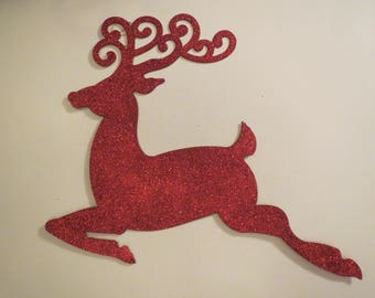 """2 Christmas Sign, Reindeer Sign, Wreath Sign, Wreath Supply, Deco Mesh Supply, Holiday Glitter Sign, Christmas Wreath, 17 1/2"""",  B5"""