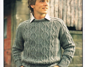 Vintage Knitting Pattern PDF: 1980s Cabled Mens Sweater Digital Copy