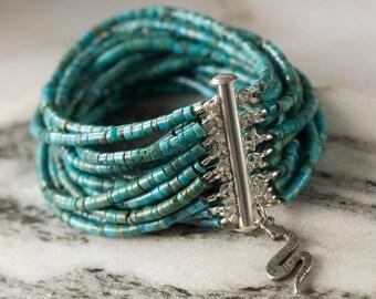 Turquoise Multi Strand Bracelet,Turquoise Heishi,Turquoise Bracelet,Turquoise Cuff,Natural Turquoise Bracelet,Large Turquoise Cuff Bracelet