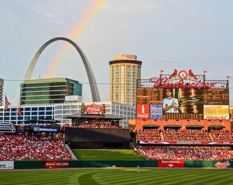 Rainbow Over Busch Stadium - Busch Stadium Print - St. Louis Cardinals, 4th of July, Saint Louis, MO, Gateway Arch - St. Louis Photography