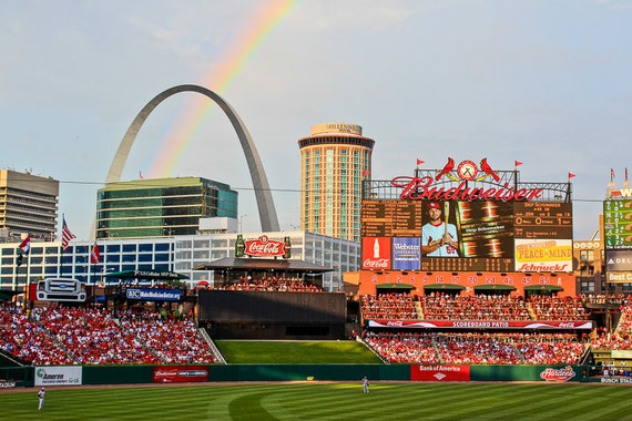 Rainbow Over Busch Stadium Busch Stadium Print St Louis