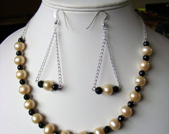 Necklace and Earrings Genuine Gemstones - Genuine Pearls 925 sterling chain and Findings