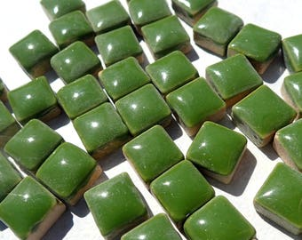 Green Square Mosaic Tiles - 1 cm Ceramic  - Half Pound in Pine Green