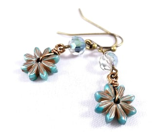 Blue Daisy Beaded Dangle Earrings with Antique Brass Earwires