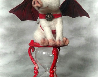 Steampunk When Pigs Fly Piglet A Test of Timme OOAK  Needle felted  Steampunk Flying PigArtist Doll Bear Stevi T. Red Cast metal Hour Glass