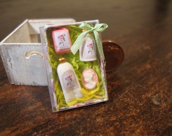 Miniatures  dollhouse gift box with items for beauty.