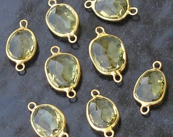 925 Sterling Silver, Lemon Quartz, 24K Gold Plated Connector,ONE Piece of 13-16mm