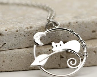 Cat & Moon Necklace - Sterling Silver Cat Jewellery - Gift For Cat Lover